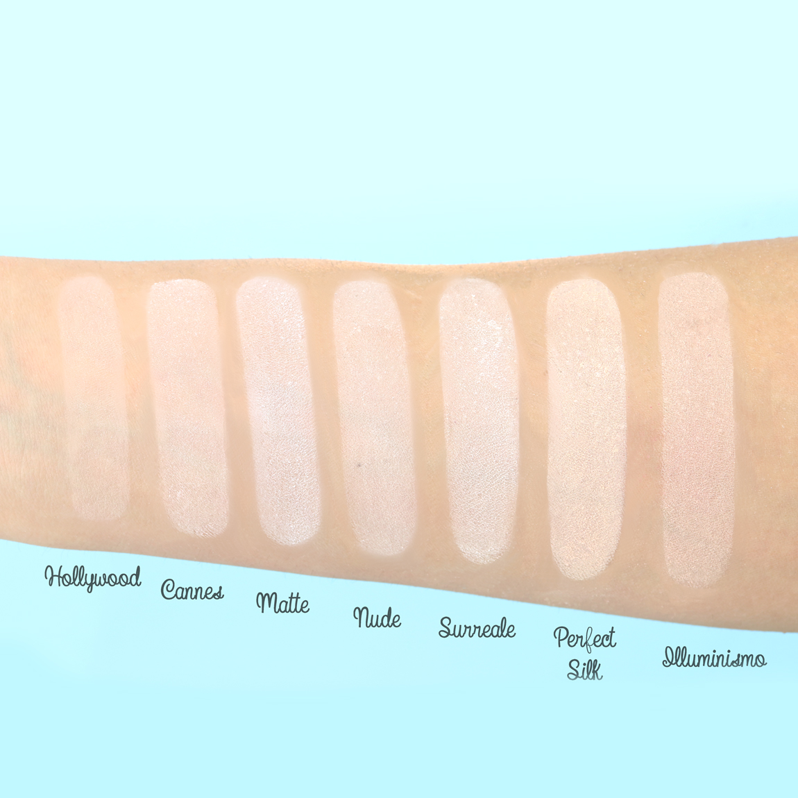 Swatch of mineral powders Neve Cosmetics