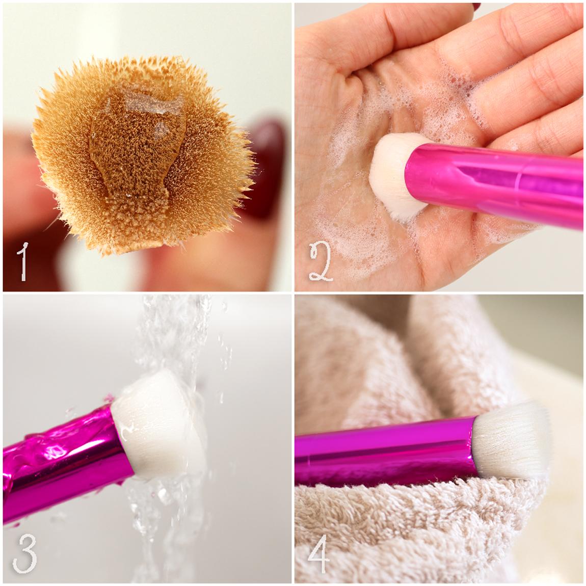 Metodo di pulizia profonda dei pennelli da trucco in 4 passi