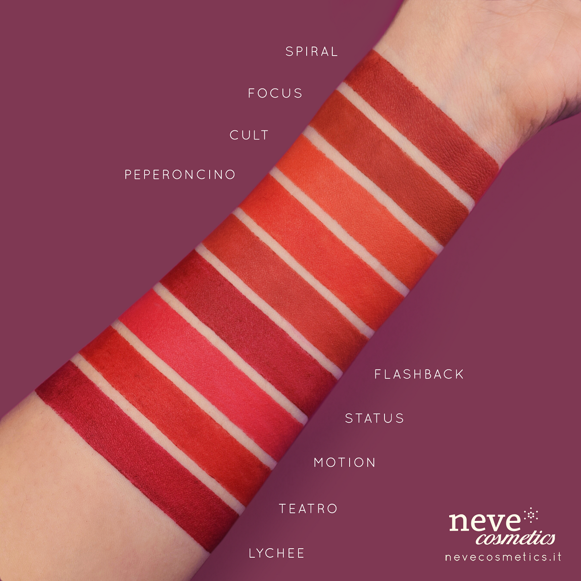 Swatch of the pencils red lips of Neve Cosmetics.