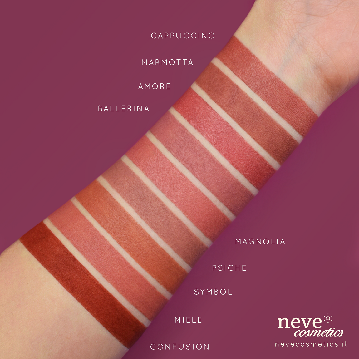 Swatch of pastel-colored flesh-colored lips Cosmetics