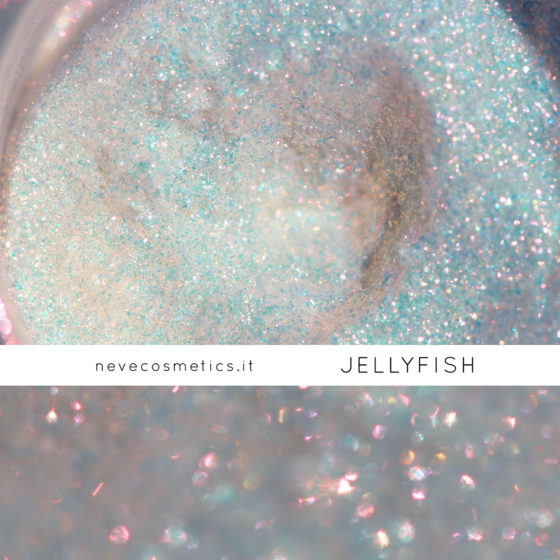 Jellyfish is the fabulous glitter mineral eye shadow with peach and fuchsia crystals.