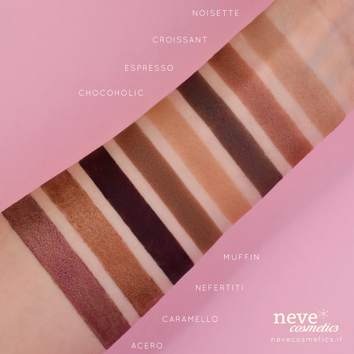 Swatch of eye shadow shades chocolate brown and hazelnut.
