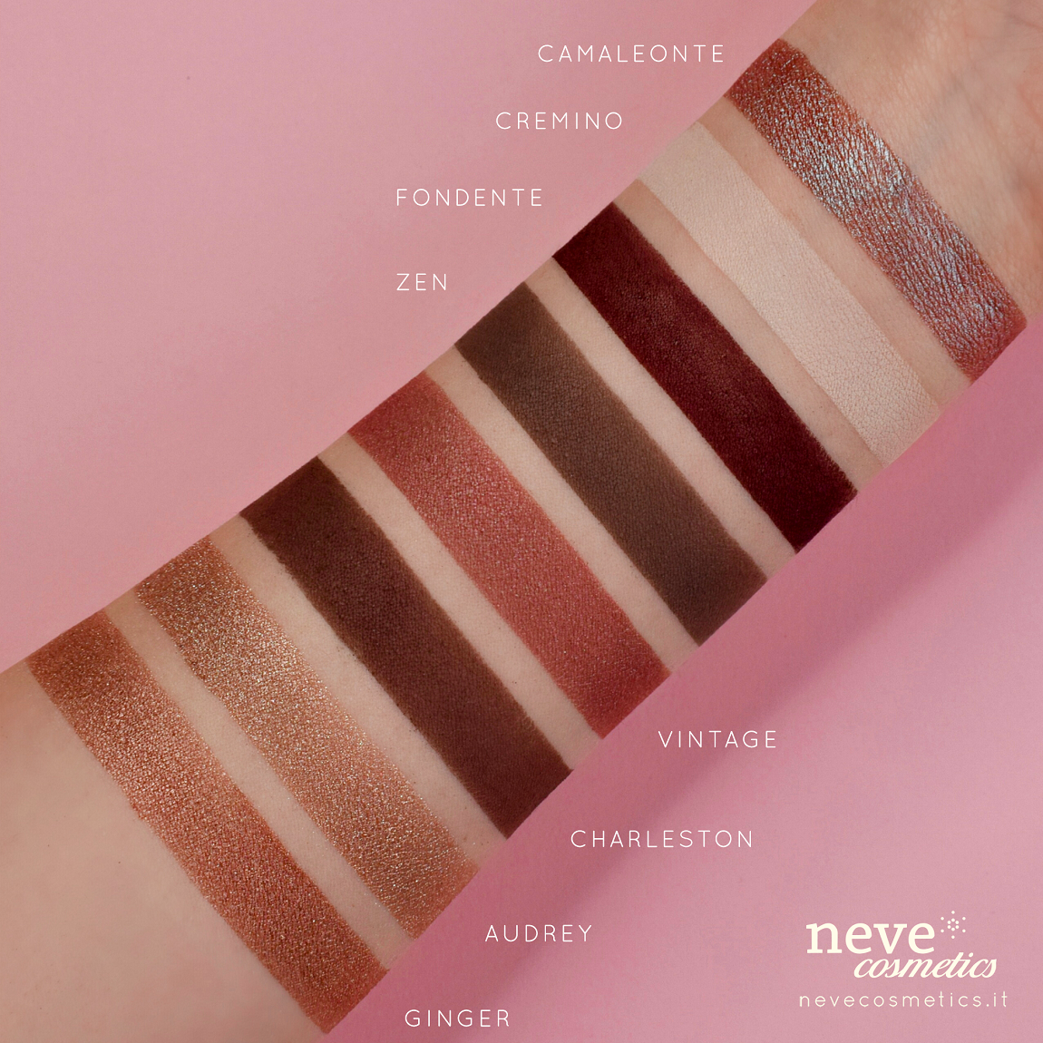 Swatch eye shadows brown, hazelnut and chocolate
