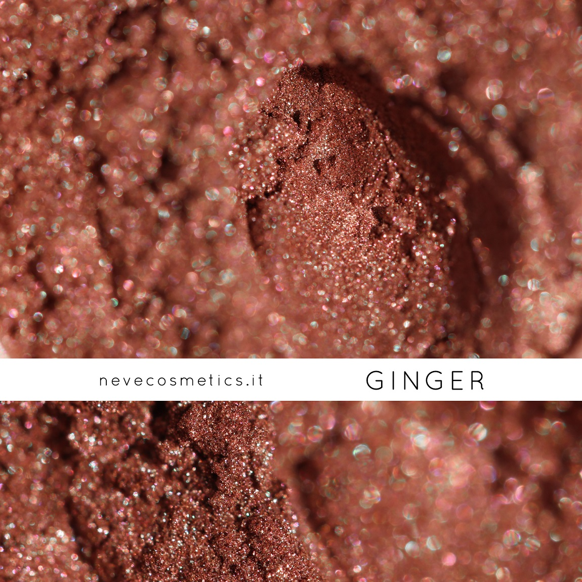 Swatch dell'ombretto ramato Ginger by Neve Cosmetics